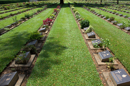 Kanchanaburi War Cemetary contains the remains of 6,982 alllied WW2 solders who perished building the ThaiBurma railway.