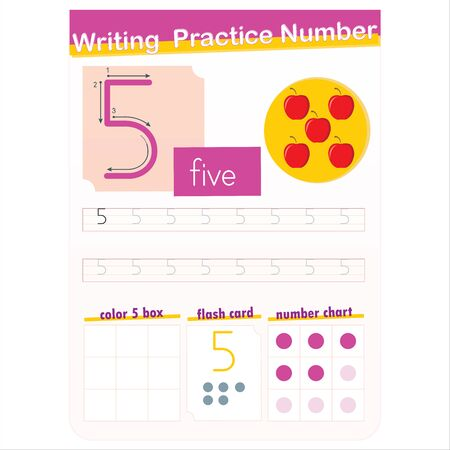 Number writing practice english - number 5 Vektorové ilustrace