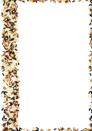 rice paper: Colored wild Rice frame with a white background Stock Photo