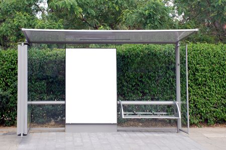 A Blank white Sign on Bus station photo