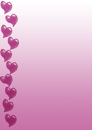 a4 background: Pink hearts on a bright gradient pink A4 page Stock Photo