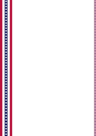 memorials: Announcement page decorated with American Flag strips ornaments, In honor of Memorial Day