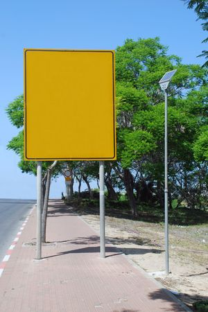 Blank yellow sign with a copy space area Stock Photo - 7052839