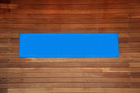 blank blue sign with a copy space area on brown boards Stock Photo - 7052865