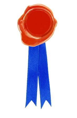 round red wax seal with a blue ribbon photo