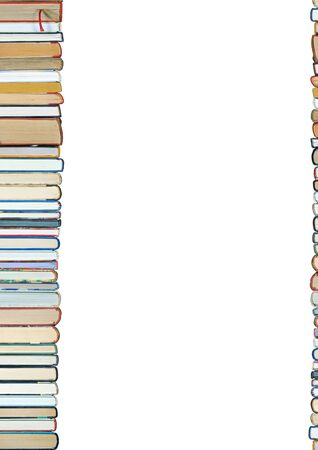 bibliophile: A pile of books isolated on white background Stock Photo
