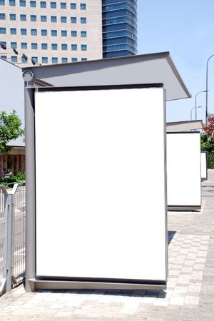A Blank white Sign on Bus station Stock Photo - 8231934