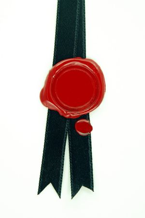 black ribbon: round red wax seal on black ribbon