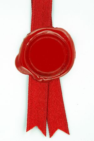 seal stamper: round red wax seal on a red ribbon
