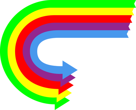 u turn sign: A set of Colored Arrows in a U turn Motion Illustration