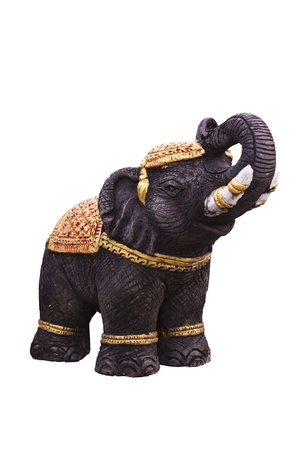 souvenir traditional: elephant statue isolated on white background Stock Photo