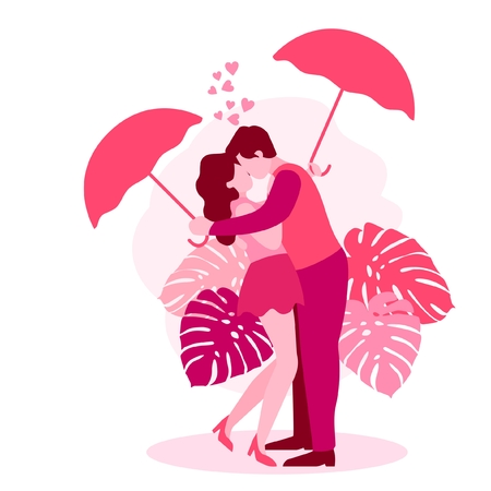 VECTOR ILLUSTRATION CUTE ROMANTIC VALENTINE LOVE COUPLE SILHOUETTE PINK WEDDING MARRIAGE GIRLFRIEND BOYFRIEND DATING DINNER ILLUSTRATOR BEST POSE