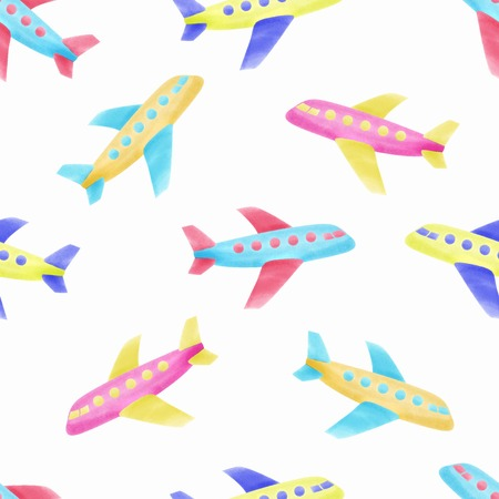 WATERCOLOR SEAMLESS PATTERN AIRPLANE