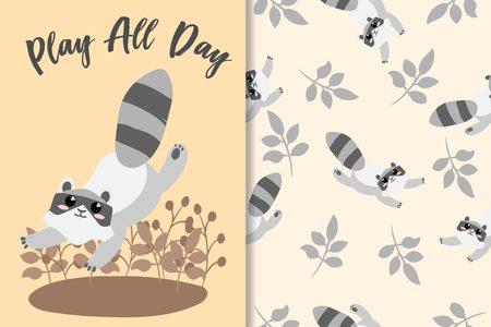 Cute Animal Hand Drawn Pattern Set Standard-Bild - 122230456
