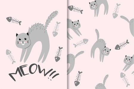 Cute Animal Hand Drawn Pattern Set Standard-Bild - 122240352