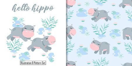 CUTE ANIMAL HIPPO SEAMLESS PATTERN CARD SET WITH ILLUSTRATION Illustration
