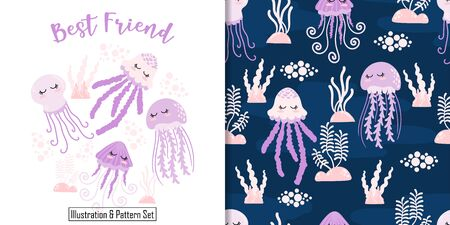 CUTE JELLYFISH  ANIMAL SEAMLESS PATTERN CARD SET WITH ILLUSTRATION Illustration