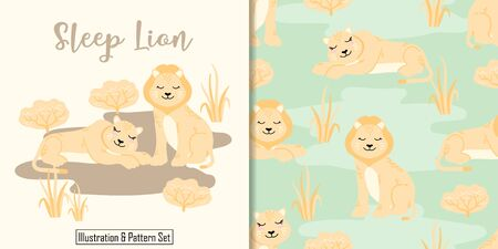 CUTE ANIMAL LION SEAMLESS PATTERN WITH ILLUSTRATION CARD SET Standard-Bild - 136685897