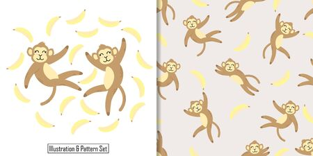 CUTE ANIMAL MONKEY SEAMLESS PATTERN WITH ILLUSTRATION CARD SET