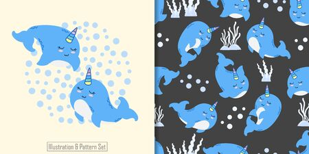 CUTE ANIMAL WHALE SEAMLESS PATTERN WITH ILLUSTRATION CARD SET Illustration