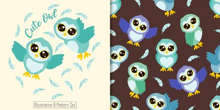 CUTE ANIMAL OWL SEAMLESS PATTERN WITH ILLUSTRATION CARD SET