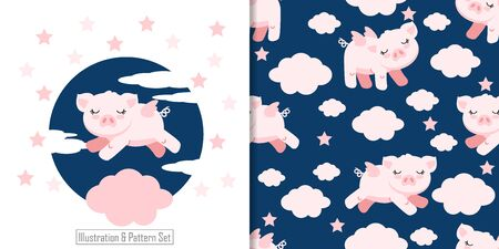 CUTE ANIMAL PIG SEAMLESS PATTERN WITH ILLUSTRATION CARD SET