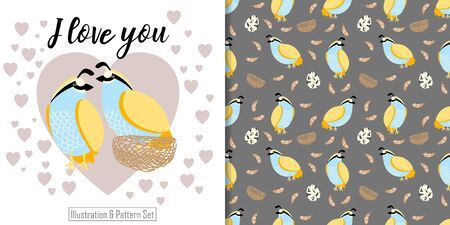 CUTE ANIMAL BIRD SEAMLESS PATTERN WITH ILLUSTRATION CARD SET