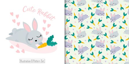 CUTE ANIMAL RABBIT SEAMLESS PATTERN WITH ILLUSTRATION CARD SET