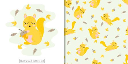 CUTE ANIMAL SQUIRREL SEAMLESS PATTERN WITH ILLUSTRATION CARD SET