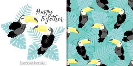 CUTE ANIMAL TUCAN SEAMLESS PATTERN WITH ILLUSTRATION CARD SET
