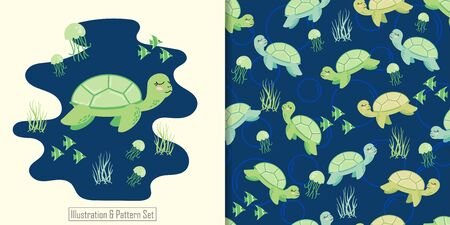 CUTE ANIMAL TURTLE SEAMLESS PATTERN WITH ILLUSTRATION CARD SET