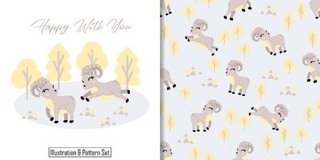 CUTE ANIMAL DEER SEAMLESS PATTERN WITH ILLUSTRATION CARD SET