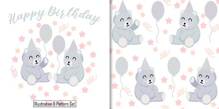CUTE ANIMAL BEAR  SEAMLESS PATTERN WITH ILLUSTRATION CARD SET