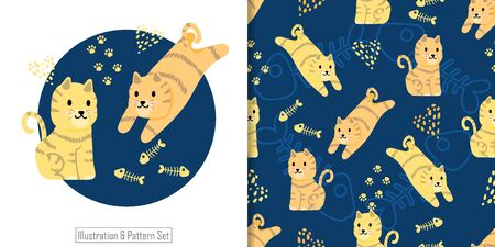 CUTE CAT ANIMAL SEAMLESS PATTERN WITH ILLUSTRATION CARD SET
