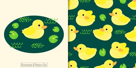 CUTE DUCK ANIMAL SEAMLESS PATTERN WITH ILLUSTRATION CARD SET Illustration