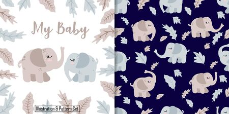 CUTE ELEPHANT ANIMAL SEAMLESS PATTERN WITH ILLUSTRATION CARD SET