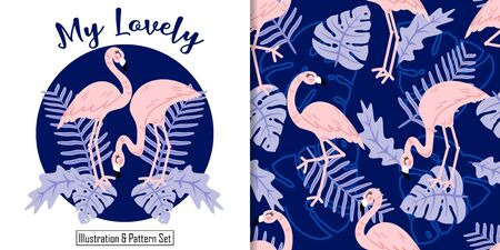 CUTE FLAMINGO ANIMAL SEAMLESS PATTERN WITH ILLUSTRATION CARD SET Illustration