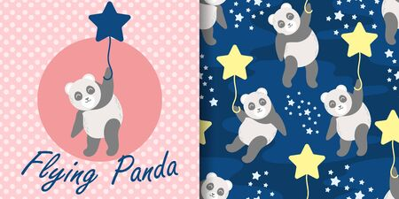 cute panda baby animal seamless pattern good for card birthday and new born