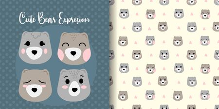 cute bear baby animal seamless pattern good for card birthday and new born Illustration