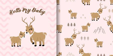 cute deer baby animal seamless pattern good for card birthday and new born