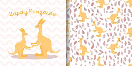 cute kangaroo  baby animal seamless pattern good for card birthday and new born