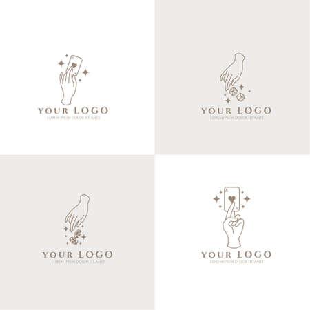 occult hand boho logo editable template card casino Logo