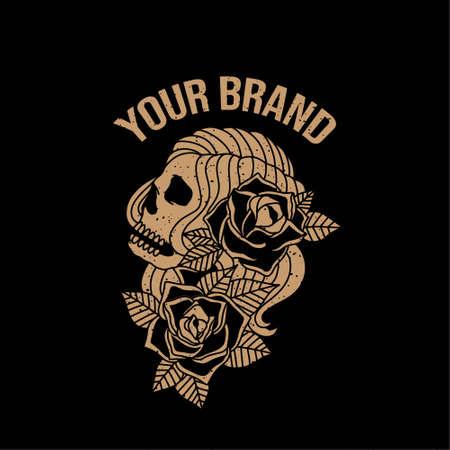 vintage sailor skull logo editable template