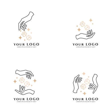 occult hand boho logo editable template card casino