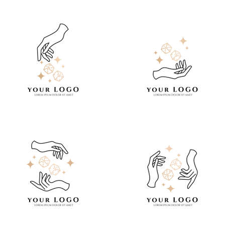 occult hand boho logo editable template card casino
