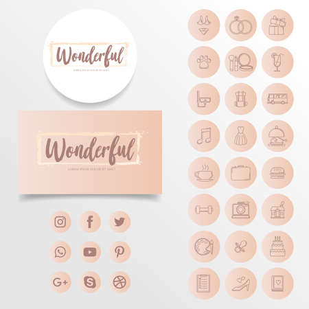 INSTAGRAM HIGHLIGHT ICON FEED FOR BUSINESS EDITABLE TEMPLATE WITH LOGO