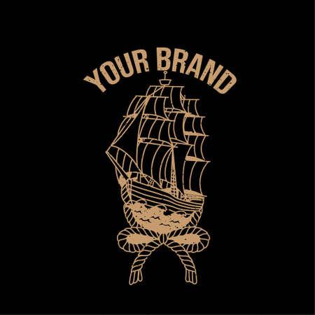 vintage yatch pirate logo editable template
