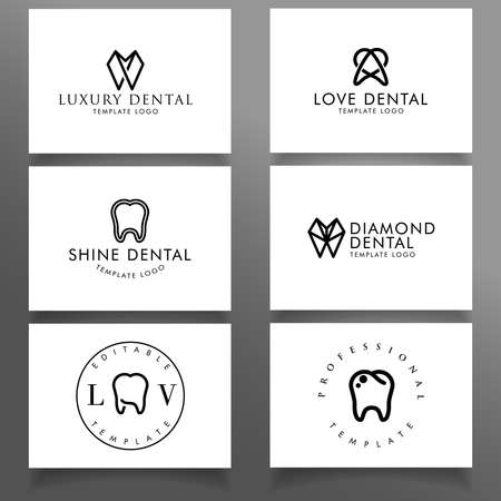 elegant feminine dental logo editable template