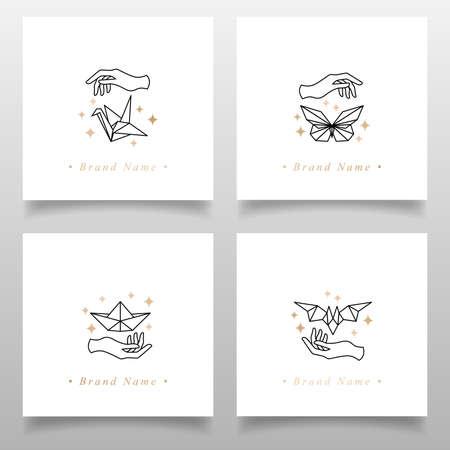feminine hand elegant logo editable template Illustration