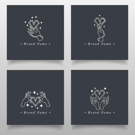 feminine hand elegant logo editable template Standard-Bild - 154589930
